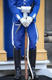 STOCKHOLM SVERIGE - AUGUSTI 20, 2016: Svenska kungliga vakter av hon Royaltyfri Bild
