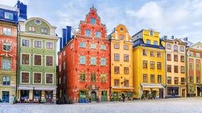 Stockholm Sverige, gammal stadfyrkant royaltyfria foton