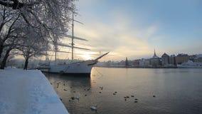 Stockholm Sverige i vinter lager videofilmer