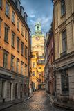 Stockholm Sverige - mars, 2019: En härlig sikt från gatorna av Stockholm arkivbild