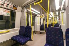 STOCKHOLM SVERIGE - 22nd av Maj, 2014 Inre av ett Stockholm tunnelbanadrev Stockholm Sverige Platsgarneringen planläggs av Arkivbilder