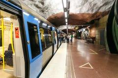 STOCKHOLM SVERIGE - 22nd av Maj, 2014 metroradhusetstation stockholm Samling av Stockholm tunnelbanakonst - mest fantastisk värld Royaltyfri Bild