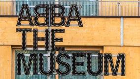 Stockholm Sverige - Oktober 28, 2016: ABBA museumtecknet på ingången Royaltyfria Foton