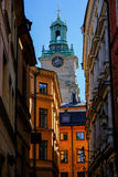Stockholm Sverige, sikt av den kyrkliga Storkyrkanen Royaltyfri Bild