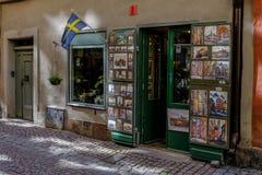Stockholm Sverige, souvenir shoppar i den gamla staden Arkivfoton