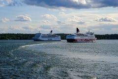Stockholm Sverige, två färjor Royaltyfria Foton