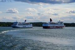 Stockholm Sverige två färjor Fotografering för Bildbyråer