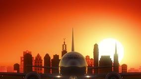 Stockholm Sweden Airplane Take Off Skyline Golden Background royalty free illustration