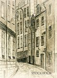 Stockholm. Sweden. Sweden. Stockholm. An ancient city street Gamla Stan in the style of an old photo. City sketch Royalty Free Stock Image