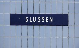 Slussen metro station sign Stock Photography