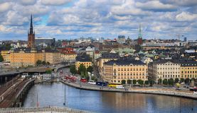 STOCKHOLM, SWEDEN - AUGUST 20, 2016: Aerial view of Stockholm fr. Om Great lookout point Katarinahissen built 1883. Katarina Elevator in Stockholm, Sweden on Stock Image