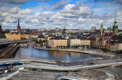STOCKHOLM, SWEDEN - AUGUST 20, 2016: Aerial view of Stockholm fr. Om Great lookout point Katarinahissen built 1883. Katarina Elevator in Stockholm, Sweden on Royalty Free Stock Photos
