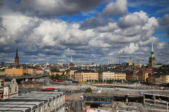 STOCKHOLM, SWEDEN - AUGUST 20, 2016: Aerial view of Stockholm fr. Om Great lookout point Katarinahissen Katarina Elevator and construction in progress in Stock Image