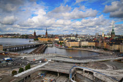STOCKHOLM, SWEDEN - AUGUST 20, 2016: Aerial view of Stockholm fr. Om Great lookout point Katarinahissen Katarina Elevator and construction in progress in Stock Photos