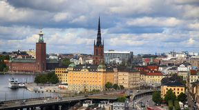 STOCKHOLM, SWEDEN - AUGUST 20, 2016: Aerial view of Stockholm fr. Om Great lookout point Katarinahissen built 1883. Katarina Elevator in Stockholm, Sweden on Stock Photo