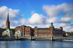 STOCKHOLM, SWEDEN - AUGUST 19, 2016: Beautiful View of church Ri. Ddarholm Church and Centralbron street Riddarholmen from bridge Riksbron in Stockholm, Sweden Royalty Free Stock Photos