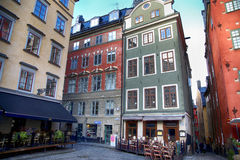 STOCKHOLM, SWEDEN - AUGUST 19, 2016: Cafes and restaurants at th Royalty Free Stock Images
