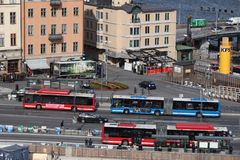 Stockholm city buses Royalty Free Stock Image