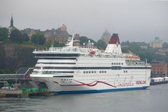 Cruise sea ferry Viking Cinderella close up in the August foggy afternoon, Stockholm, Sweden Stock Image