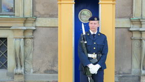 STOCKHOLM - SWEDEN, AUGUST 2015: female soldier guarding parliament house stock video