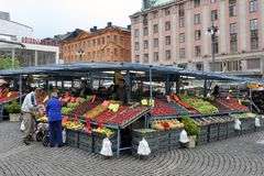 Fruit and Vegetable Market in Central Stockholm. STOCKHOLM, SWEDEN - AUGUST 3: Fruit and vegetable market in central Stockholm, Sweden on August 3, 2006 Royalty Free Stock Images