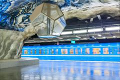 Moving train at Stockholm metro or tunnelbana station Tekniska H stock photo