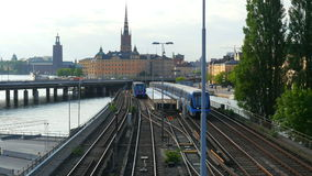 STOCKHOLM - SWEDEN, AUGUST 2015: old city view, metro passing stock video footage