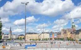 Stockholm, Sweden - August 18, 2014 - Scenic summer panorama of the Old Town (Gamla Stan) in Stockholm, Sweden. Royalty Free Stock Photo