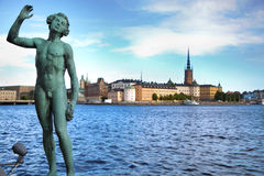 STOCKHOLM, SWEDEN - AUGUST 20, 2016: Song statues near Stockholm. City Hall  Stadshuset  and View of Gamla Stan from Stockholm City Hall in Stockholm, Sweden on Royalty Free Stock Photo