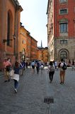 Tourists are walking in the old town in Stockholm stock images