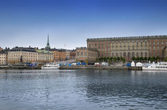 STOCKHOLM, SWEDEN - AUGUST 20, 2016: View of Gamla Stan and The. Royal Palace. Stockholm Royal Palace is major royal palace of Swedish monarch in Stockholm in Royalty Free Stock Images