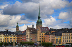 STOCKHOLM, SWEDEN - AUGUST 20, 2016: View of Gamla Stan and St. Gertrudes Church - Tyska Kyrkan Old German Church located in Gamla Stan from Sodermalmstorg in Royalty Free Stock Photos
