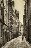 STOCKHOLM, SWEDEN - AUGUST 19, 2016: View of narrow street and c. Olorful buildings, Kopmangatan street located in Gamla Stan, old town in central Stockholm Stock Photos