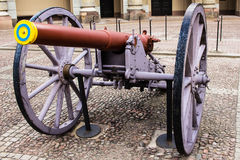 STOCKHOLM, SWEDEN - CIRCA 2016 - An out of service military canon at the royal palace. STOCKHOLM, SWEDEN - CIRCA 2016 - a close up photo of an  military canon Stock Photos