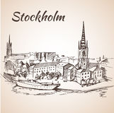 Stockholm, Sweden - city view. Hand drawn ink line pen. Royalty Free Stock Images