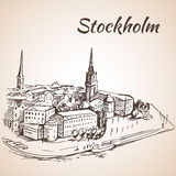 Stockholm, Sweden - city view. Hand drawn ink line pen. Stock Images