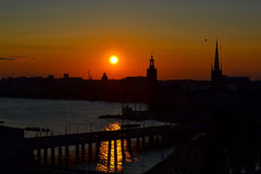 Stockholm, Sweden the citys skyline at sunset. Sunset at bay, Stockholm, Sweden Stock Photo