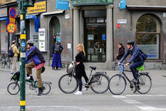 Stockholm,Sweden Cyclists standing at a traffic light Royalty Free Stock Image