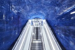 Stockholm, Sweden - December 12,2017. Escalator at the metro station T-Centralen on the Blue line royalty free stock photo
