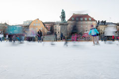 STOCKHOLM, SWEDEN - DECEMBER 29 2013, people while ice skating in stockholm main place Royalty Free Stock Photography