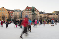 STOCKHOLM, SWEDEN - DECEMBER 29 2013, people while ice skating in stockholm main place Royalty Free Stock Image
