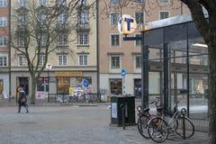 Subway station entrance with parked bikes at Sankt Eriksplan royalty free stock images