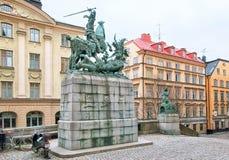 stockholm sweden drakegeorge saint Arkivfoton