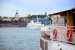 Stockholm, Sweden in Europe. Ship and architecture Stock Photography