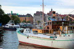 Stockholm, Sweden in Europe. Ship and architecture Stock Photos