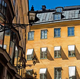 Stockholm. Sweden. Gamla Stan. Windows and lights of Old Town. Stockholm Royalty Free Stock Photo