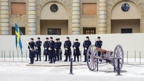 STOCKHOLM, SWEDEN - JANUARY 4: Guardsmen at a ceremony of changi Stock Images