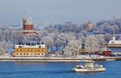 STOCKHOLM, SWEDEN - January 2010: View of Skeppsholmen and Djurg Royalty Free Stock Images