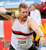 Shot-putter Mats Olsson. Stockholm, Sweden - July 29, 2015: Mats Olsson competes in the shot put competition, Stockholm BAUHAUS Athletics Big Shot, held in Stock Image