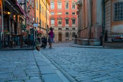 Part of the Gamla Stan in late evening. STOCKHOLM, SWEDEN - July 1, 2018 : Part of the Gamla Stan in late evening stock images